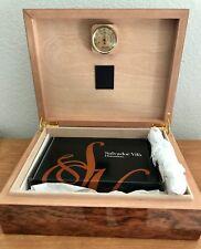 Salvador Vila Fully Polished Wooden Cigar Humidor Box w/ Humidifier & Hygrometer