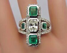 14K White Gold Emerald Cut Diamond Colombian Green Emerald Ring 3.60 CT