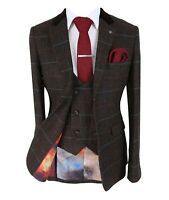 Men's Tommy Brown Double Breasted Waistcoat SlimFit Tweed Check Herringbone Suit