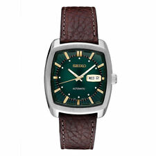 Seiko Men's Automatic Stainless Steel Green Dial Brown Leathe Watch SNKP27