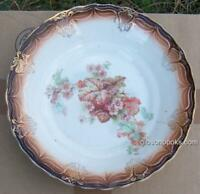 Vintage Lamberton China Brown Bowl with Begonias in Center and Gold Trim