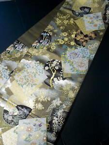 Mint I0928A Used Japanese   Multi Color FUKURO OBI sash Grade A