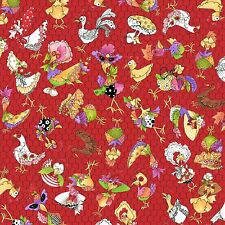 Loralie Harris Chicken Rooster Toss Wire Red Cotton Fabric Chicken Chique - YARD