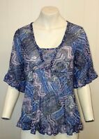 Gorgeous Blue & Pink Patterned Top from Per Una at M&S- Size 12 - Worn Once!