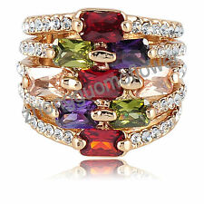 Square Ruby Emerald Amethyst Zircon 18K Yellow Gold GP Crystal Ring HQ0215 #8
