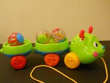 Fisher Price Pull & Spin Caterpillar W/ 3 Roll Around Balls Baby Learning Toy