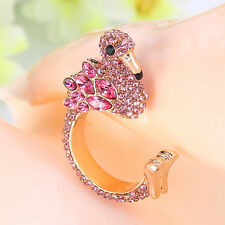 Flamingo Bird Cocktail Ring Women Party Jewelry Pink Crystal Gold Tone Size 8