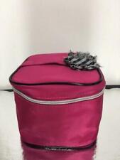 Lancome Paris Pink Fuschia Train Case Cosmetic Bag Makeup Organizer Travel Bow