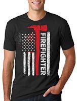Firefighter T-shirt Gift For Firefighter Flag Patriotic Tshirt Proud Firefighter