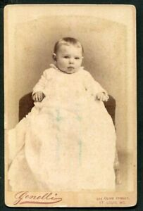 ANTIQUE CABINET CARD PHOTO PRECIOUS BABY ID'd FERROR BACKSTAMP ST LOUIS MO
