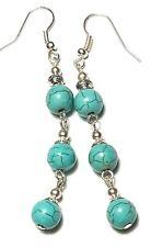 Long Drop Dangle Silver Turquoise Earrings Gemstone Beads Pierced
