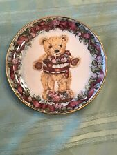 Teddy'S First Birthday Teddy Bear Plate Franklin Mint Cake Floral Happy Charming