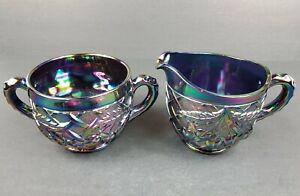 Mosser Amethyst Iridescent Carnival Glass Cherry & Lattice Creamer and Sugar Set
