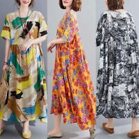 ZANZEA UK Womens Summer Short Sleeve Casual Loose Sundress Printed Kaftan Dress