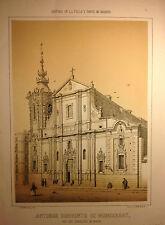 Madrid, convento de Montserrat,litografía original de Cebrian, 1862-64