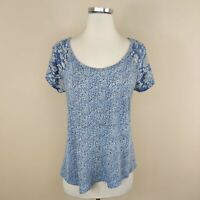 Lucky Brand S Floral Knit Tee Top Cap Sleeve Blue Cotton Modal Small