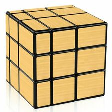 Shengshou Mirror Cube 3x3 Speed Cube Gold Mirror Blocks Puzzle Toys (Black)