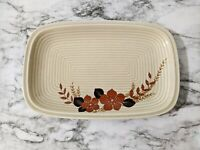 "Winterling Bavaria Roslau China - 12"" Rectangular Platter Tan with Rust Floral"