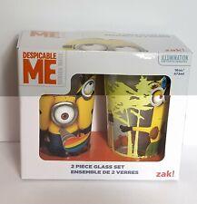 Zak! Designs Pint Glass Tumblers, Minions, Set of 2, 16 oz. capacity