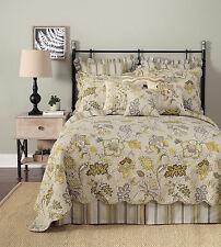 Laurel & Mayfair Terrace Garden Grey Gold Brown Stripe Bedskirt Dust Ruffle: Q,K