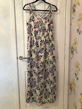 NEW FOREVER 21 IVORY, PURPLE, PINK & GREEN FLORAL & BIRD PRINT MAXI DRESS – UK M
