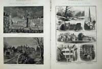 Antique Old Print 1882 Leicester Bradgate Hall Earl Stamford Abbey Church 19th
