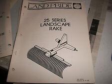 Land Pride Owner's PARTS Manual 25 SERIES LANDSCAPE RAKE