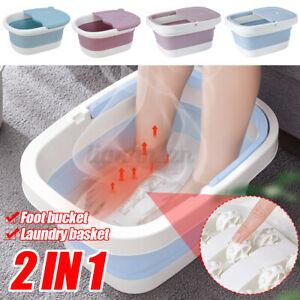 2 in 1 Foldable Footbath Massage Bucket Foot Wash Tub Barrel Laundry Basket
