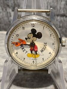 Vintage Mickey Mouse Walt Disney Production hand wound 17 Jewels Swiss Watch