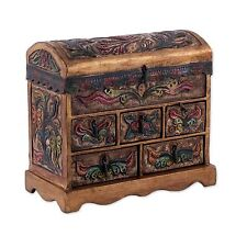 Wood & Leather Jewelry Box Chest Hand Tooled 'Antique Tan' NOVICA Peru