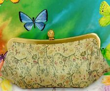 👀 Ann Taylor LOFT Vintage Clutch Victorian Floral Purse Gold Frame Handbag