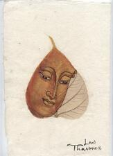Original Ink and Oil with Bodhi Leaf   Buddha Image    Vientiane Laos       BL22