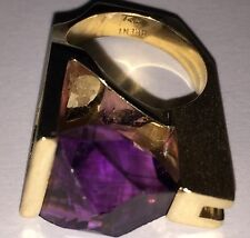 Women's 14K Pure Yellow Gold High Bar Ring w/10 Carat Triangular Fluted Amethyst