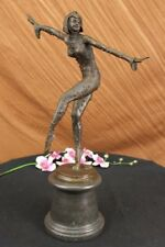 WONDERFULLY DETAILED SIGNED CHIPARUS PURE HOTCAST DECO GIRL BRONZE STATUE
