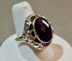 Nicky Butler NB India Sterling Silver Ring w/Oval Faceted Purple Amethyst size 8
