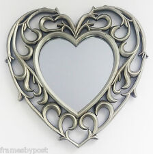 Vintage Style Distressed Silver Heart Shape Mirror 25cm x 25cm with hangers