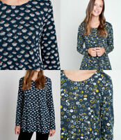 Ex Seasalt Womens Carved Slate Blue Mustard Ivory Spot Daisy Flared Tunic Top