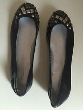 FRENCH CONNECTION BLACK LEATHER FLAT SHOES SIZE 4 UK (37 EU) BNWOT