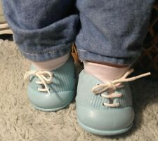 IDEAL NURSERY AQUA SHOES w/SOCKS fit SOFT SCULPTURE DOLL, CPK, 80s TINY TEARS