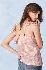 NEW NEXT 14 Pink Gingham Sleeveless Shoulder Tie Frill Cami Vest Top