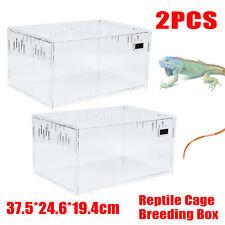 2*Acrylic Reptile Cage Breeding Box Tarantula Insect Lizard Large Pet Tank