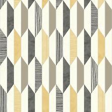 3d Vintage Retro Vinyl Wallpaper Geometric Muriva Diamonds Yellow Grey Shapes
