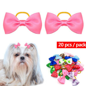 20pcs Dog Hair Bows Clips Grooming Accessories for Pet Puppy Cat Shih Tzu Yorkie