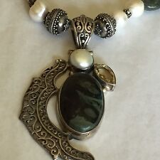 Vtg Sterling Green Spinach Turquoise Baroque  Pearl & Citrine Pendent Necklace