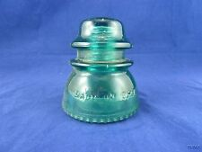 Vintage Hemingray 42 Green Blue Insulator Made in USA Double Ring Bubble Bottom