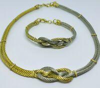 Vintage Gold and Silver Tone Tied Cable Torque Demi Parure: Necklace & Bracelet