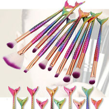10 Rainbow Mermaid Small Make up Set Foundation Powder Brush Cosmetic Tools Set