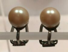 Vintage GES GESCH Germany Large Faux Pearls Clip On Earrings Cream White Clip-on