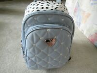 Luv Betsey Johnson Quilted Hearts Gray/White With Spots Backpack New With Tag