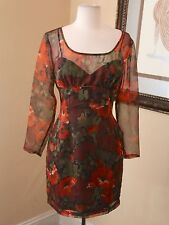 Anna Sui Anthropologie Mini Cocktail Dress Size 6 Floral Orange Black Green Fall